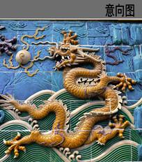 祥瑞的龙形浮雕