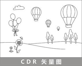 原野上的热气球与气球线描插画