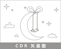 月亮上的秋千线描插画