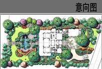 中式别墅庭院彩平