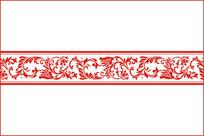 中式卷草花纹雕刻图案