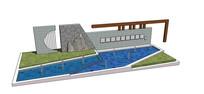 中式现代景墙模型