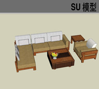 组合简约沙发SU模型