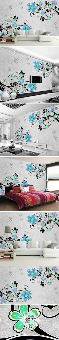 北欧简约高清手绘花朵背景墙