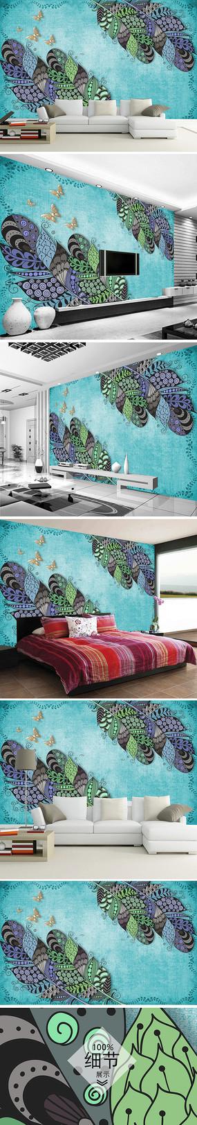 北欧简约手绘羽毛背景墙