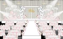 粉色欧式花海主题婚礼背景设计