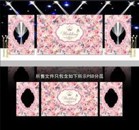 粉色系婚礼花墙背景板 PSD