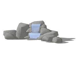 简约假山跌水模型