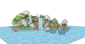 假山跌水游泳池