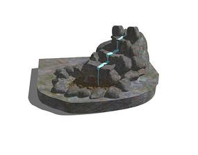 假山流水水景SU模型