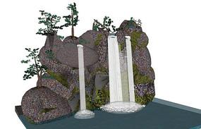 假山流水水景模型