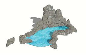 假山水池模型
