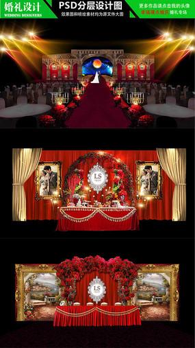 欧式大红色高档婚礼场景设计