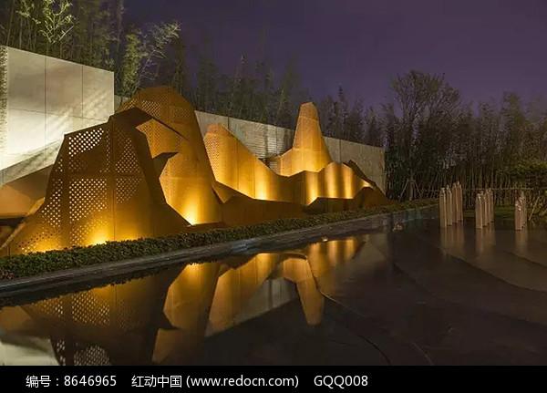 特色文化墙夜景意向图图片