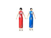 3dmax模型旗袍女装带骨骼