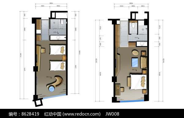 标准大床房彩色平面图JPG素材下载 编号8628419 红动网