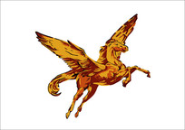 飞翔的骏马插画
