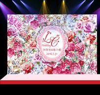 粉紫色花卉婚礼花墙迎宾背景