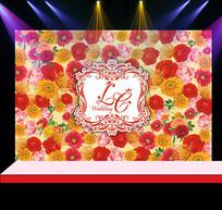 红黄花卉婚礼花墙迎宾背景