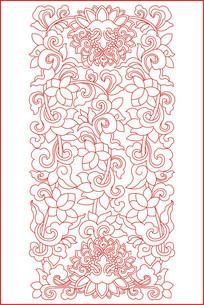 简洁大气牡丹花雕刻图案