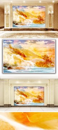 日照金山风景大理石纹背景墙