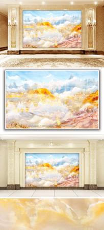 五彩斑斓风景大理石纹背景墙