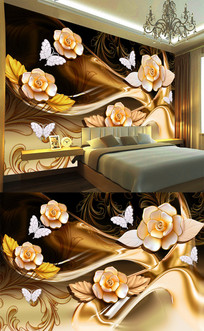 3d立体珠花欧式金色花朵壁画 PSD