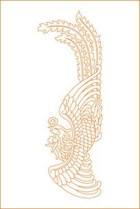 凤凰展翅雕刻图案