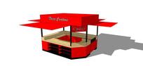 红色调商品售卖亭模型