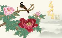 花开富贵喜鹊牡丹电视背景墙