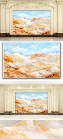 江山如画风景大理石纹背景墙 TIF