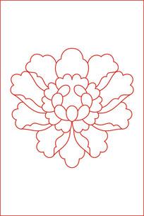 简约牡丹线描雕刻图案 CDR