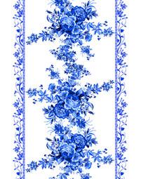 青花瓷花朵花边移门装饰画