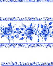青花瓷玫瑰花边移门装饰画