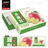 清新的阿克苏冰糖心苹果礼盒包装