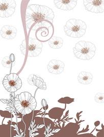 线条花朵底纹移门装饰画