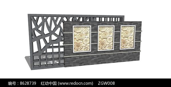 新中式图案景墙模型图片
