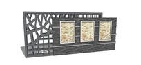 新中式图案景墙模型
