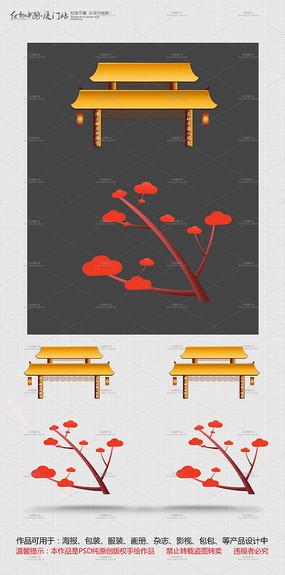 中国风建筑和树