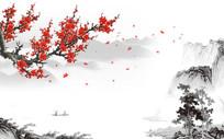 中国风水墨山水梅花电视背景墙