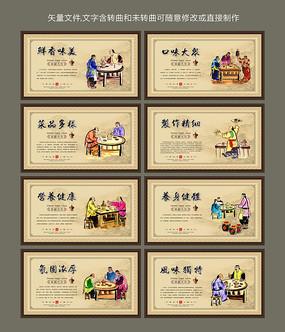 中式古典火锅文化宣传画展板