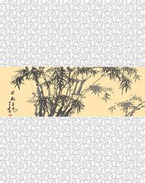 中式竹子底纹移门装饰画