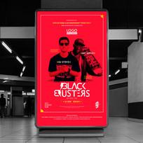 红色潮流男组合DJ海报设计