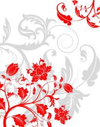 红色花朵底纹移门装饰画