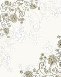 花朵花边底纹移门装饰画