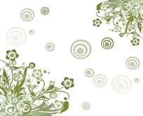 花朵花边圆圈花藤移门装饰画