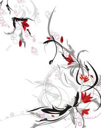 花朵花藤底纹圆圈移门装饰画