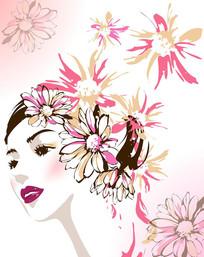 花朵美女人物移门装饰画