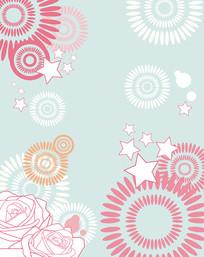 花朵圆圈星星移门装饰画