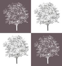 花鸟树木移门装饰画